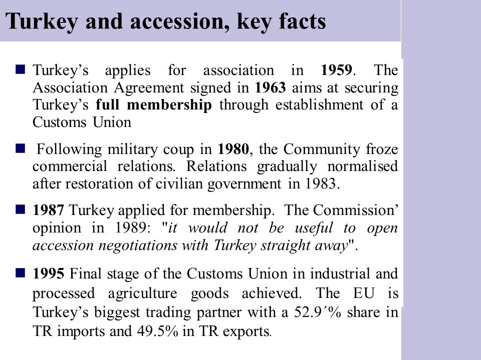Turkey and accession, key facts