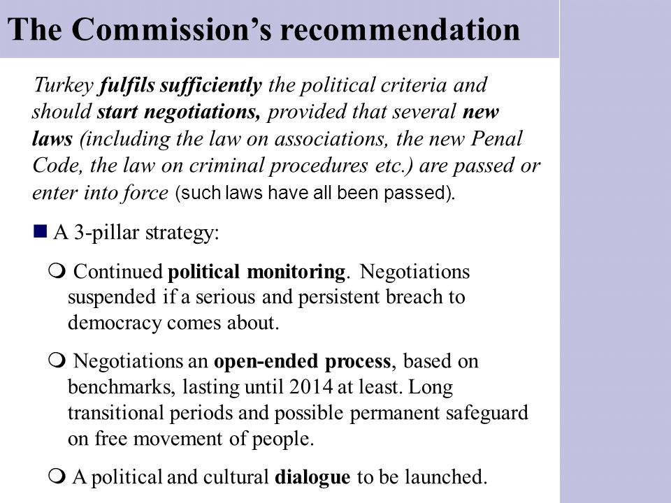 The Commission's recommendation