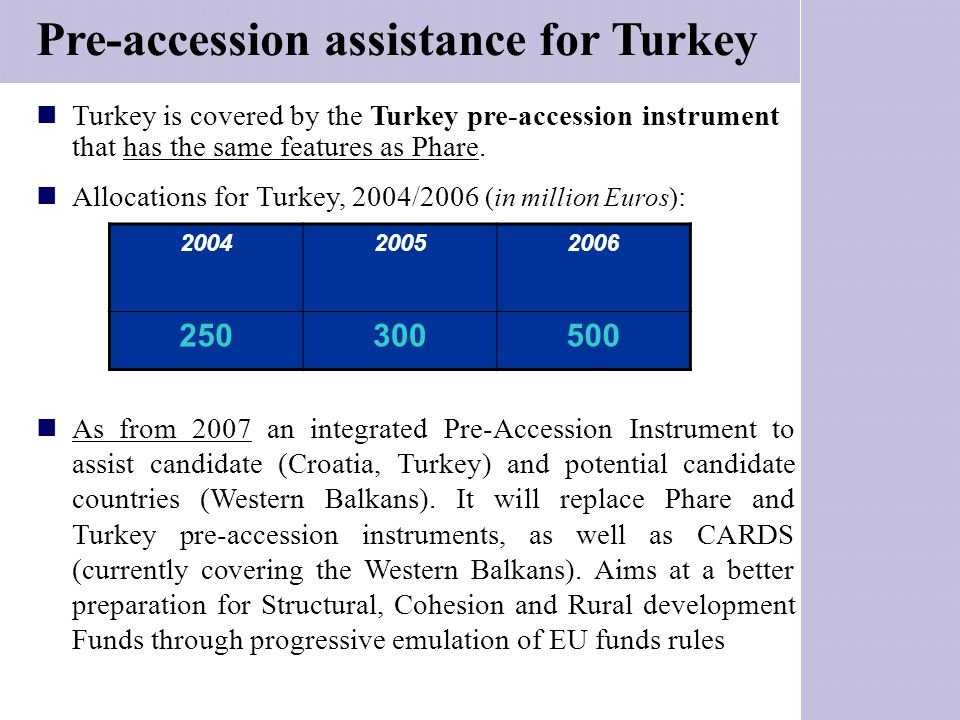 Pre-accession assistance for Turkey