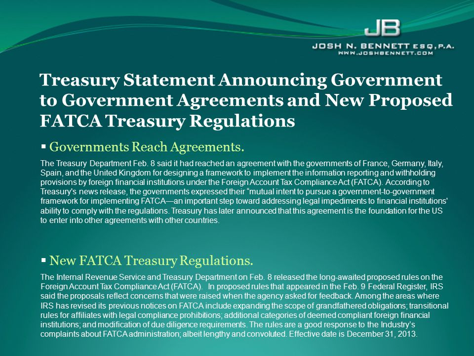 Treasury Statement Announcing Government to Government Agreements and New Proposed FATCA Treasury Regulations