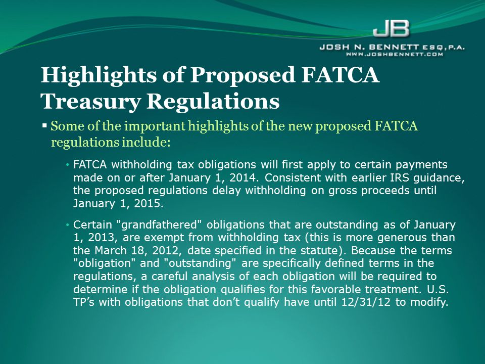 Highlights of Proposed FATCA Treasury Regulations
