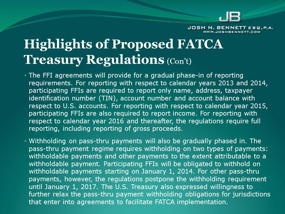Highlights of Proposed FATCA Treasury Regulations (Con't)