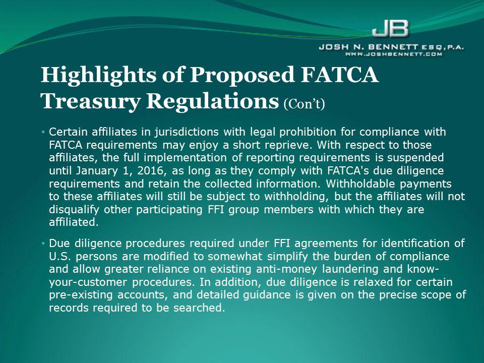 Highlights of Proposed FATCA Treasury Regulations (Con't)