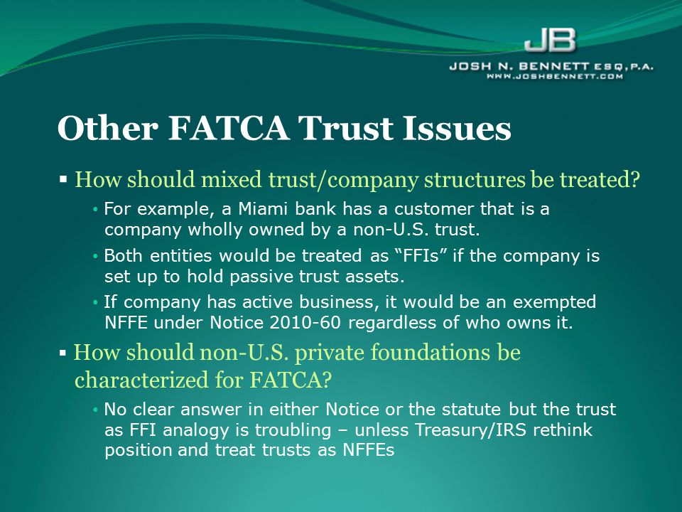 Other FATCA Trust Issues