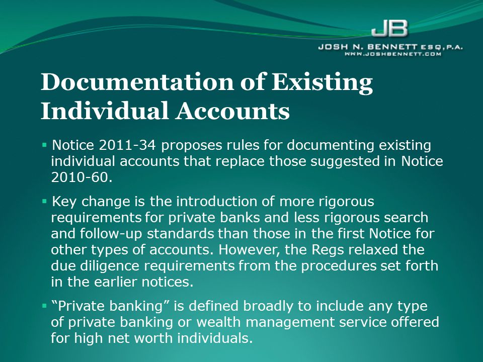 Documentation of Existing Individual Accounts