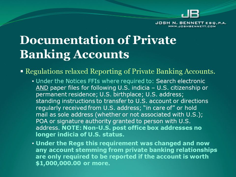 Documentation of Private Banking Accounts