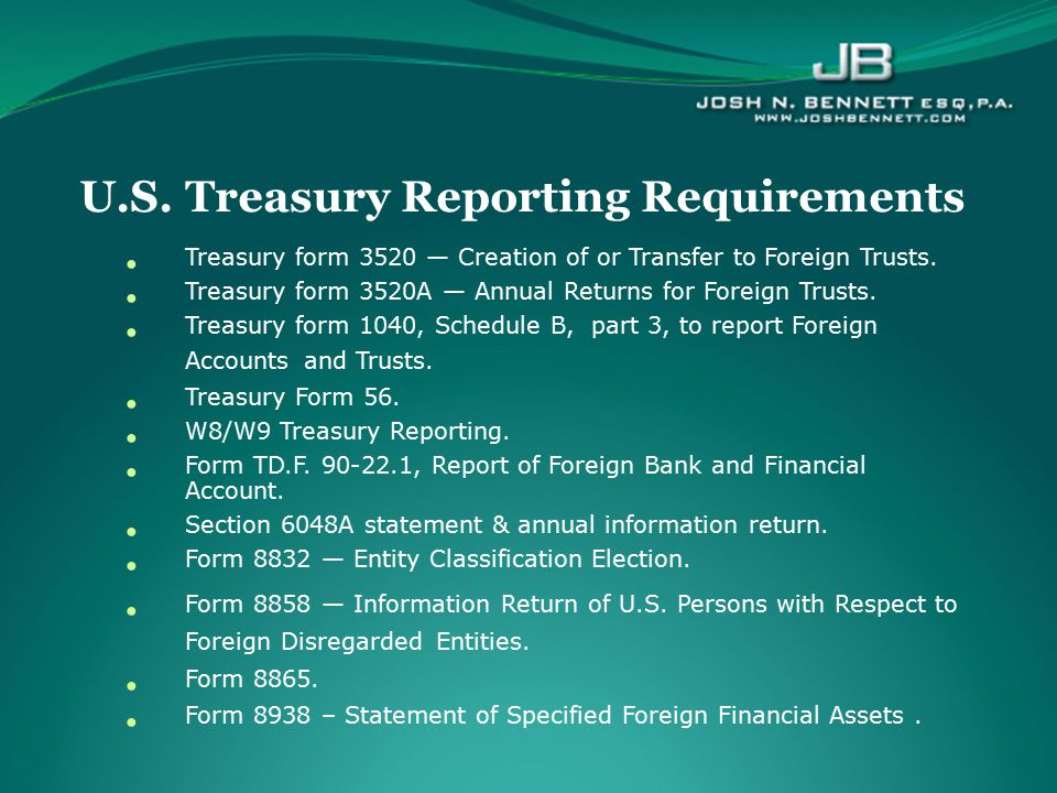 U.S. Treasury Reporting Requirements