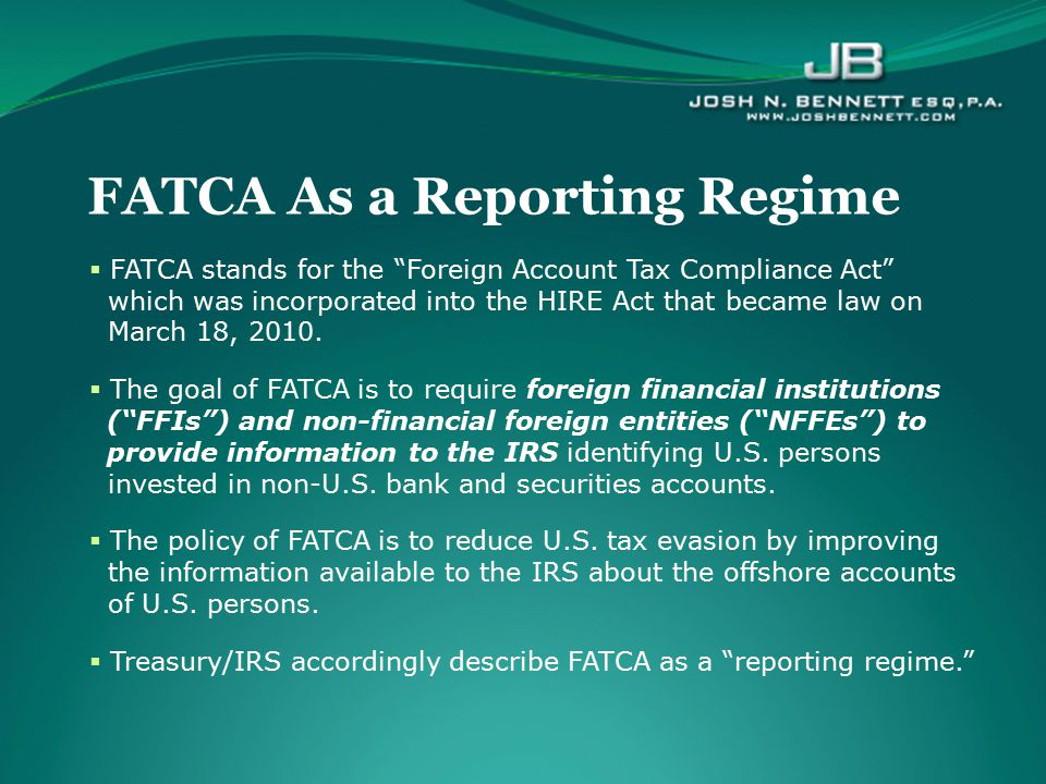 FATCA As a Reporting Regime