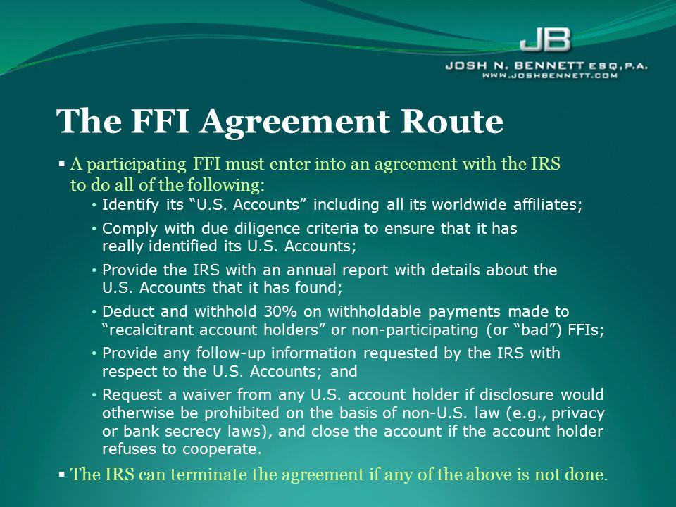 The FFI Agreement Route
