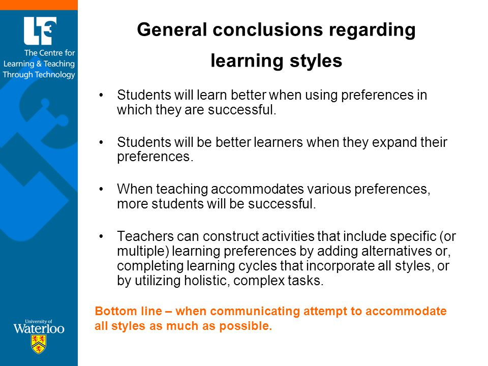 General conclusions regarding learning styles