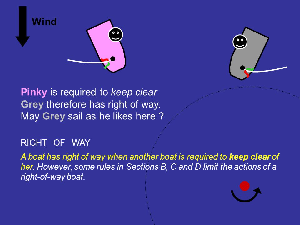Pinky is required to keep clear Grey therefore has right of way.