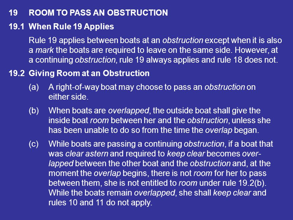 19 ROOM TO PASS AN OBSTRUCTION