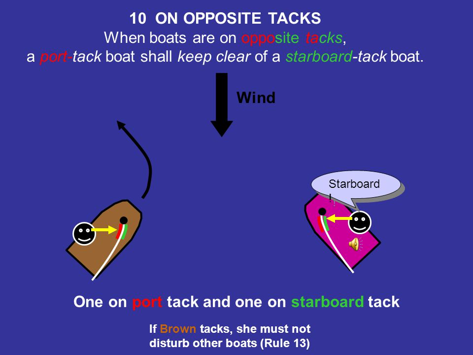 10 ON OPPOSITE TACKS One on port tack and one on starboard tack
