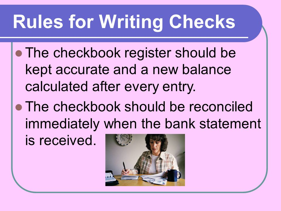Rules for Writing Checks