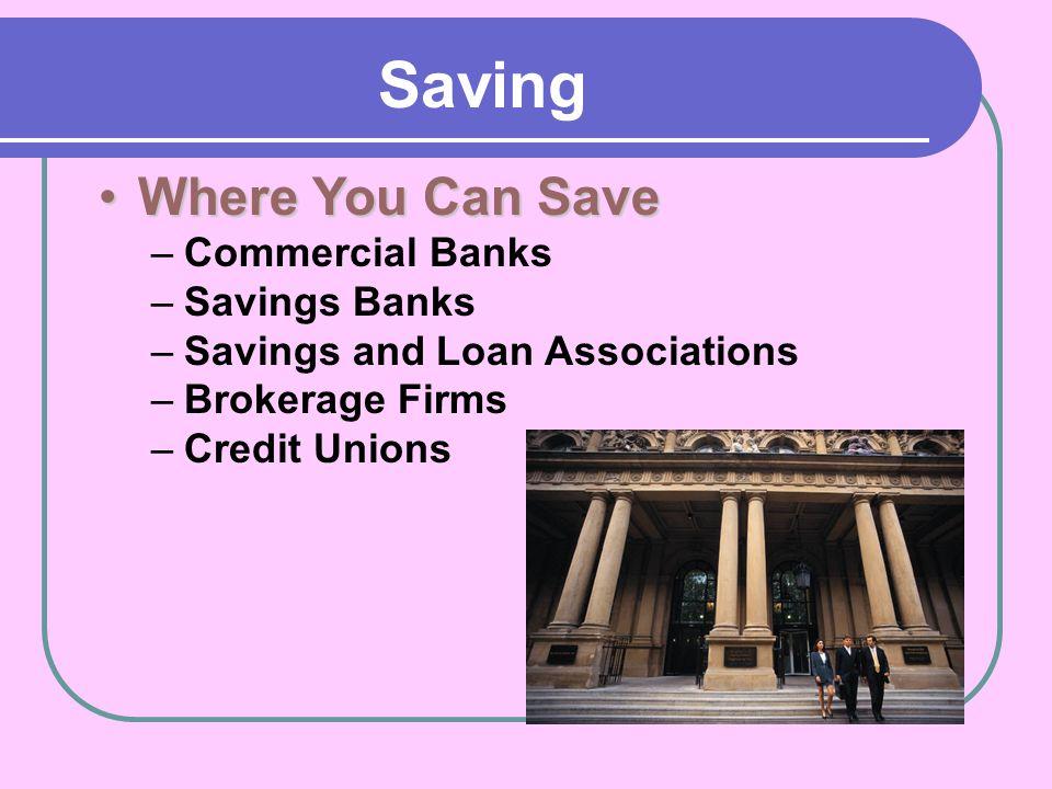 Saving Where You Can Save Commercial Banks Savings Banks