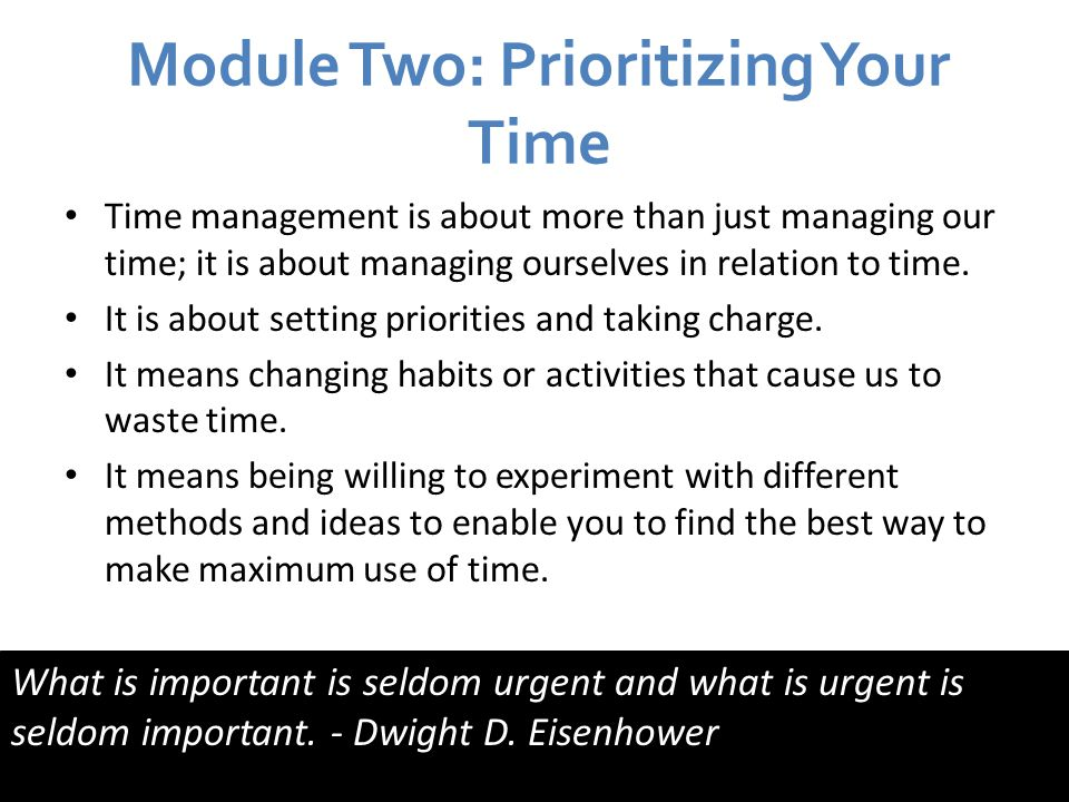 Module Two: Prioritizing Your Time