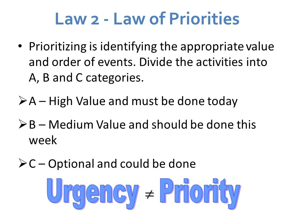 Law 2 - Law of Priorities  Urgency Priority