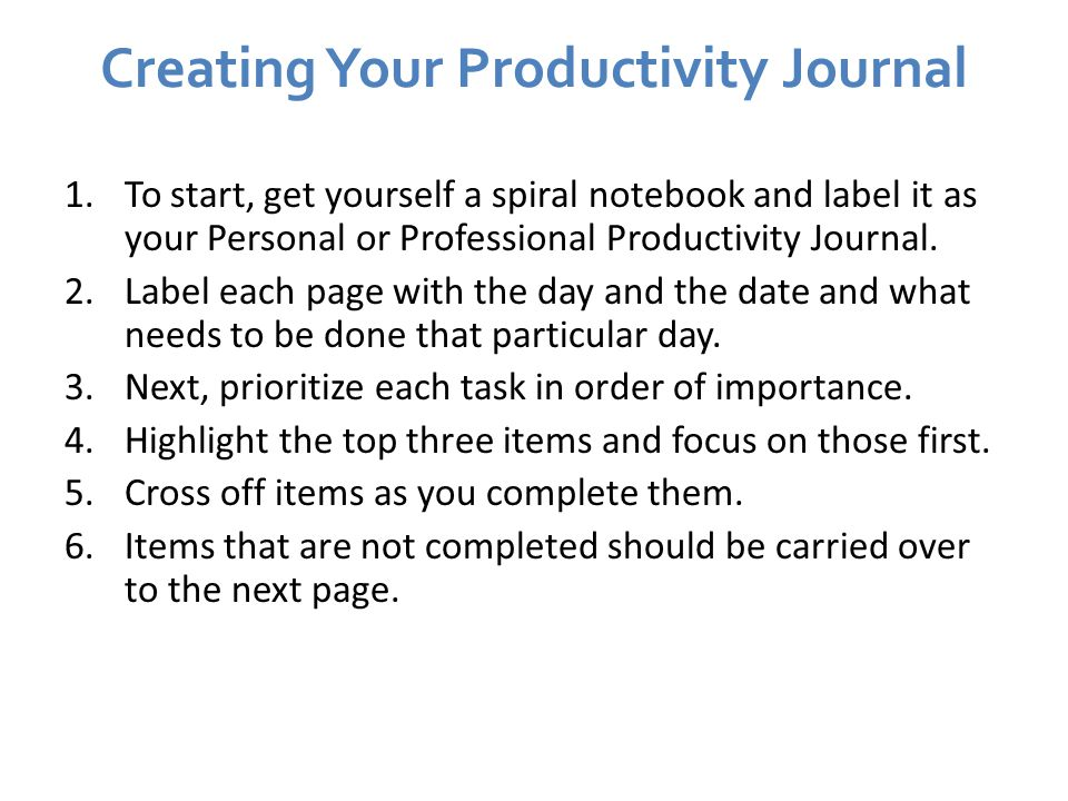 Creating Your Productivity Journal