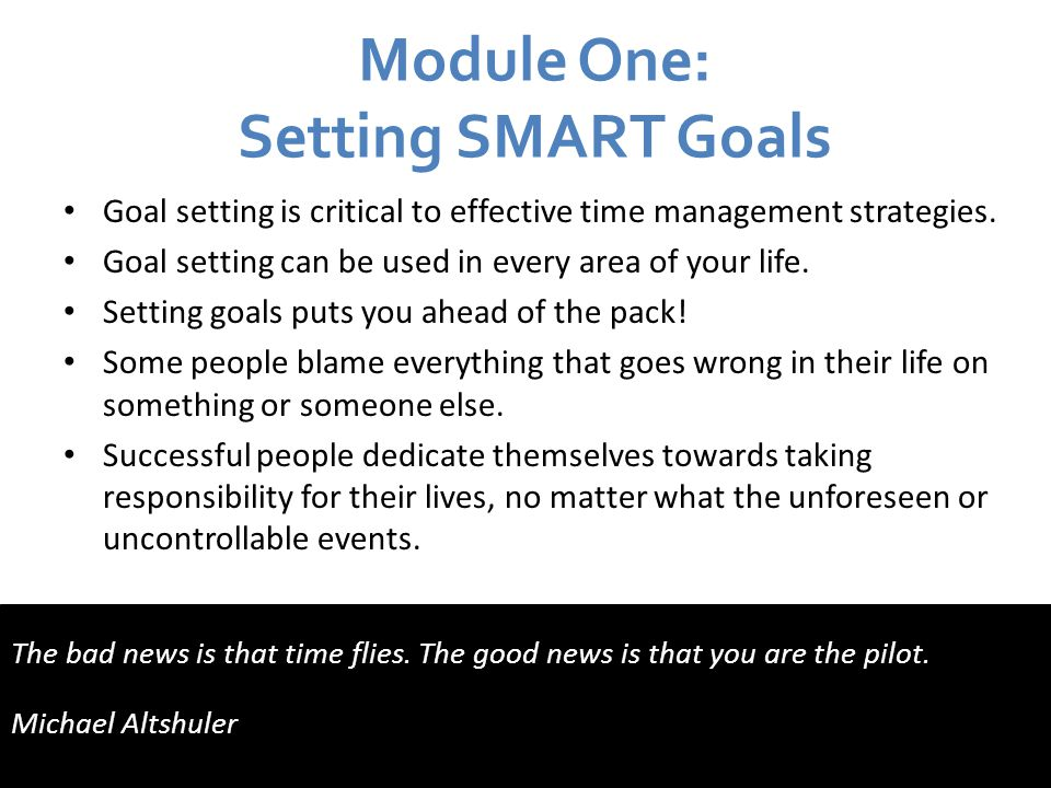 Module One: Setting SMART Goals