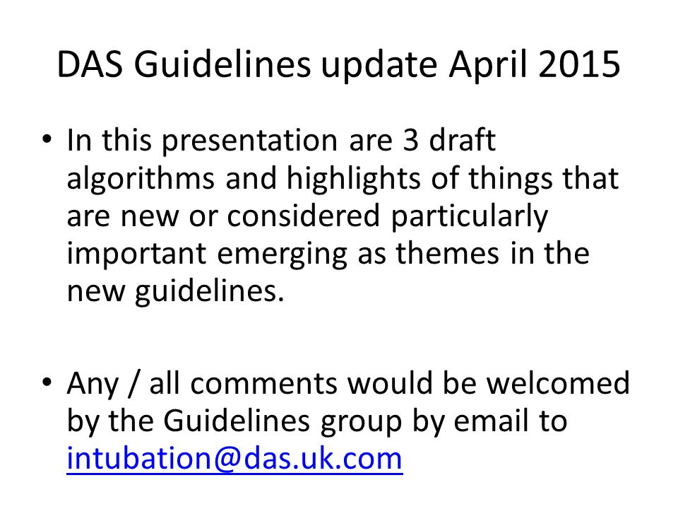 DAS Guidelines update April 2015