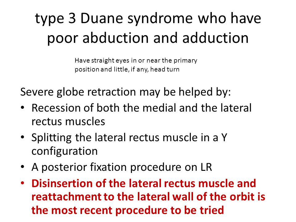 type 3 Duane syndrome who have poor abduction and adduction