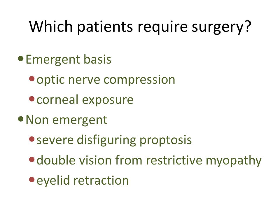 Which patients require surgery
