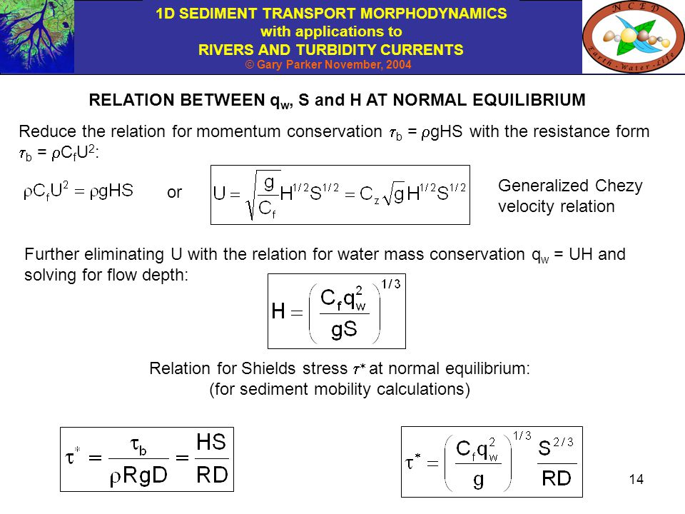 RELATION BETWEEN qw, S and H AT NORMAL EQUILIBRIUM