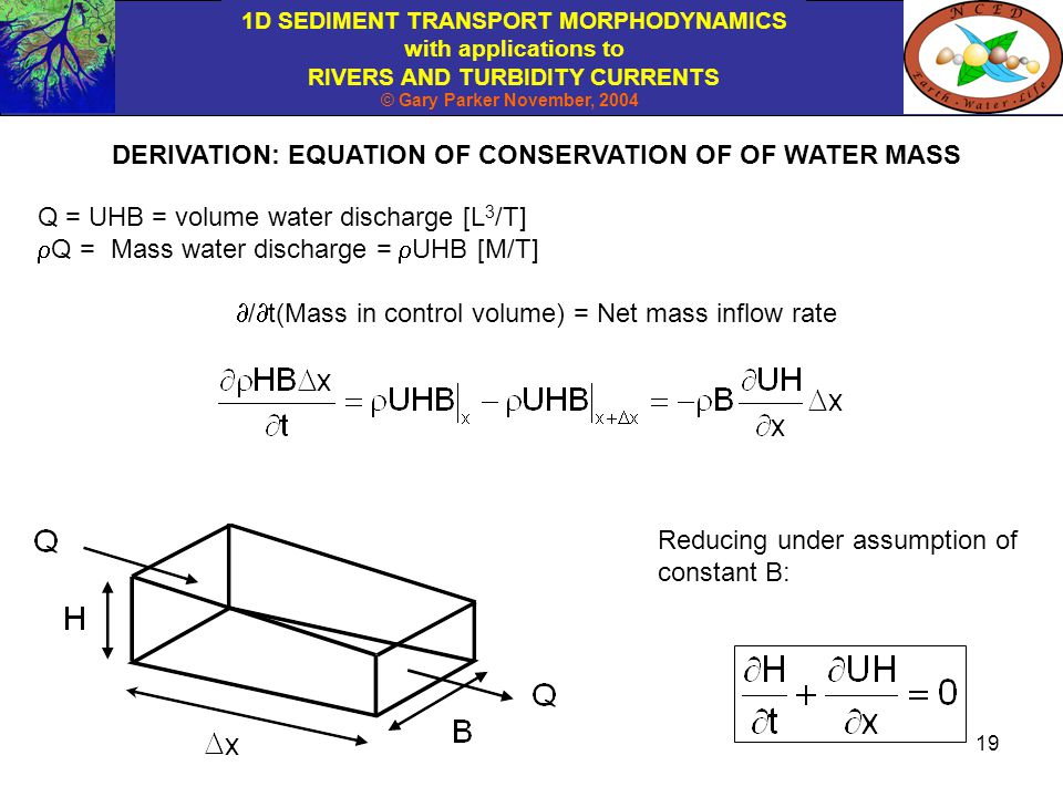DERIVATION: EQUATION OF CONSERVATION OF OF WATER MASS