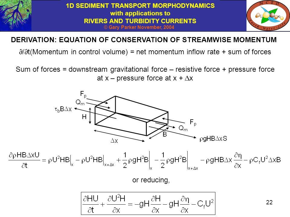 DERIVATION: EQUATION OF CONSERVATION OF STREAMWISE MOMENTUM