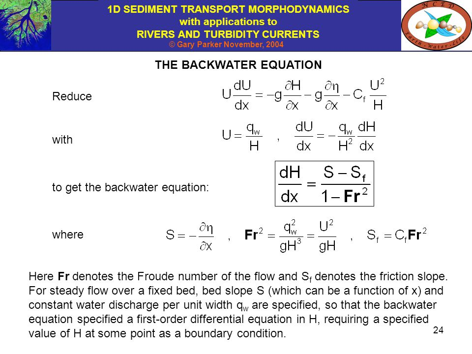 THE BACKWATER EQUATION