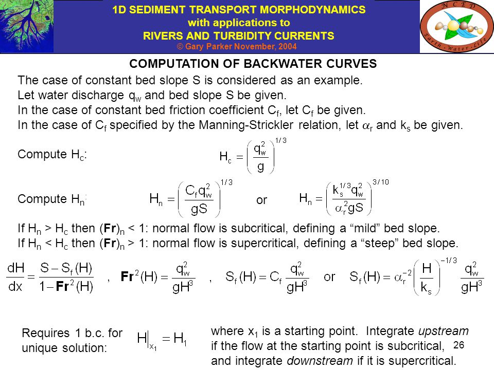 COMPUTATION OF BACKWATER CURVES