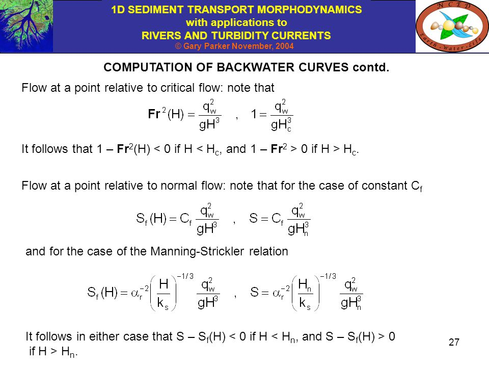 COMPUTATION OF BACKWATER CURVES contd.