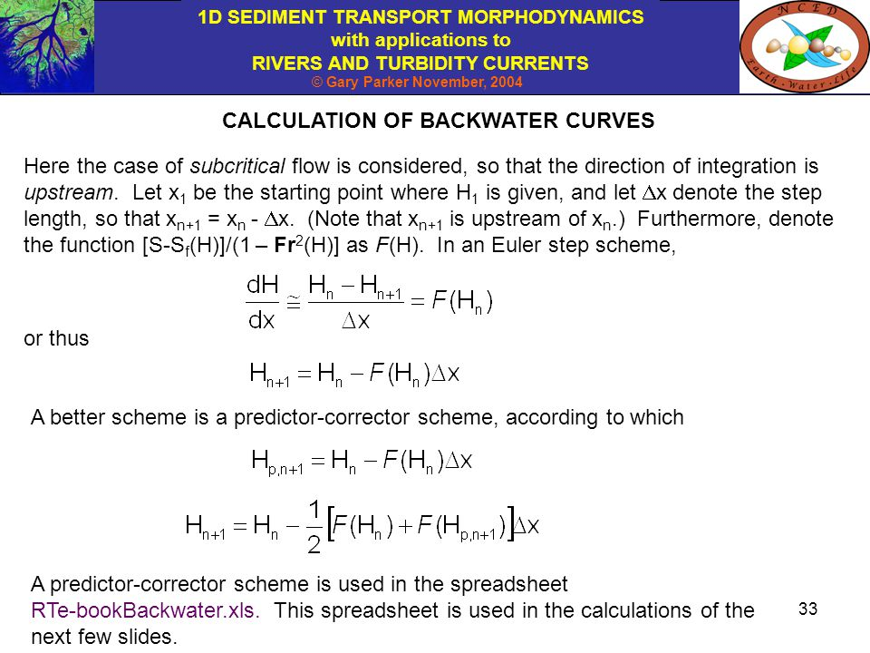 CALCULATION OF BACKWATER CURVES