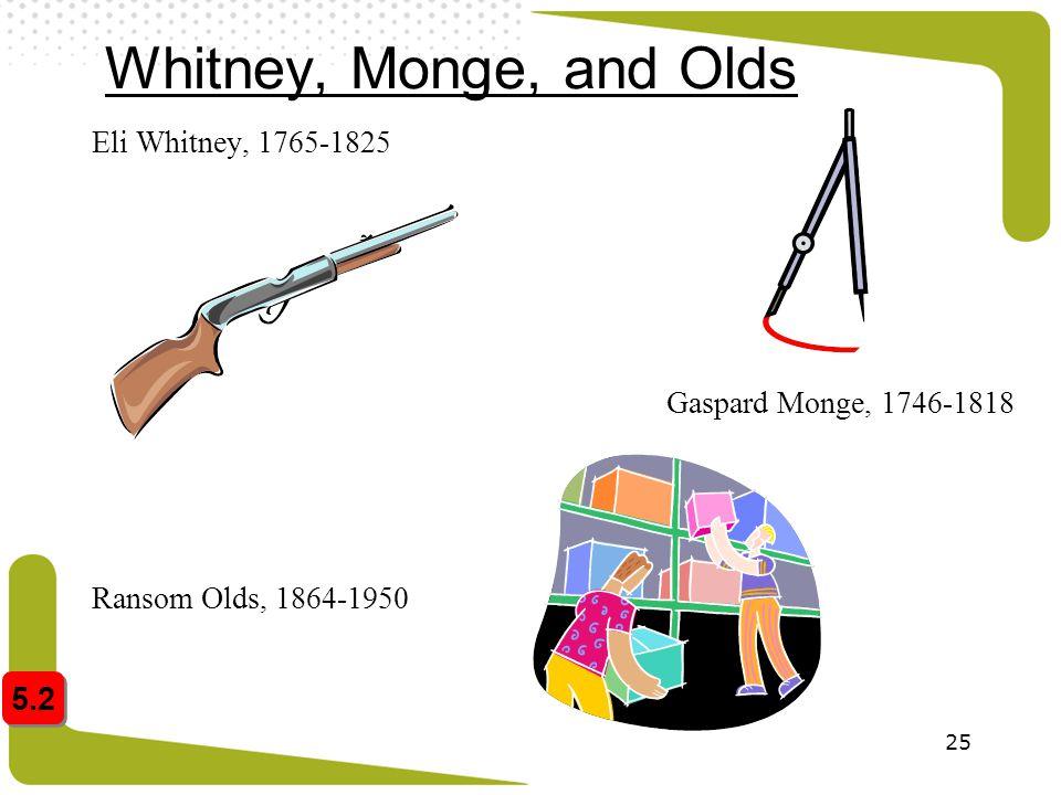 Whitney, Monge, and Olds 5.2 Eli Whitney, 1765-1825