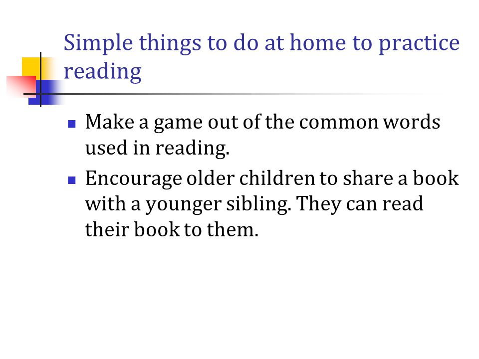 Simple things to do at home to practice reading