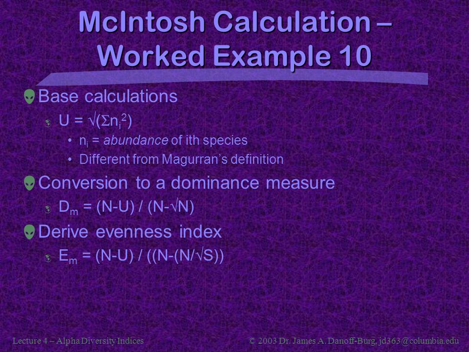 McIntosh Calculation – Worked Example 10