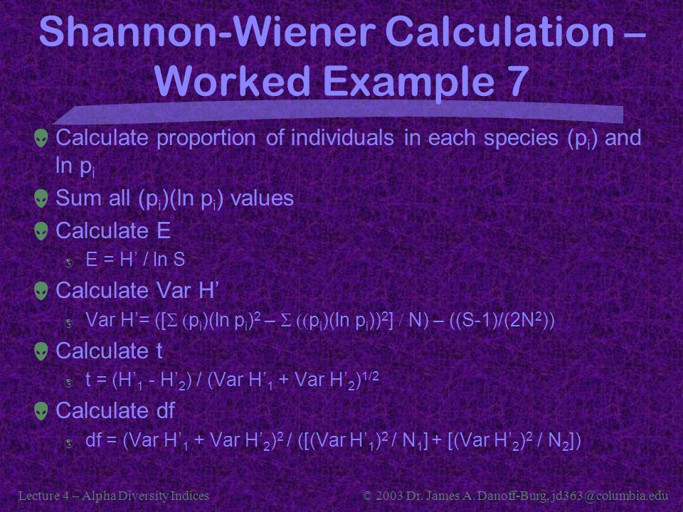 Shannon-Wiener Calculation – Worked Example 7