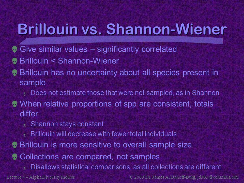 Brillouin vs. Shannon-Wiener