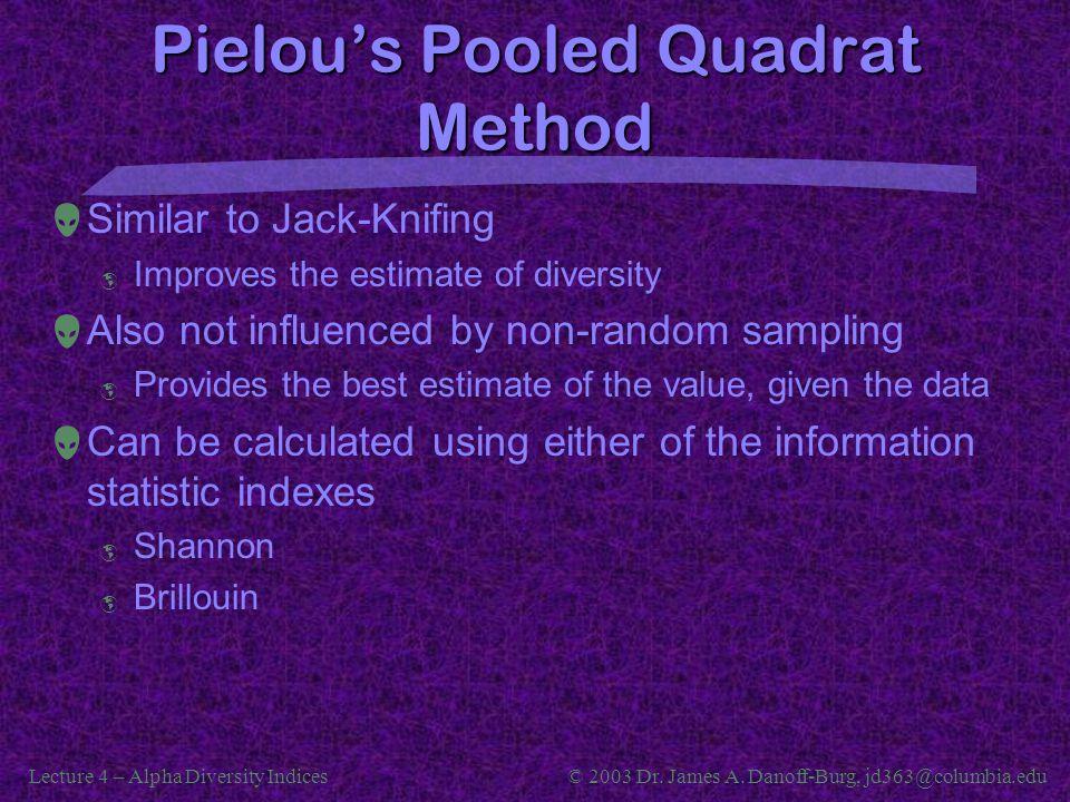 Pielou's Pooled Quadrat Method