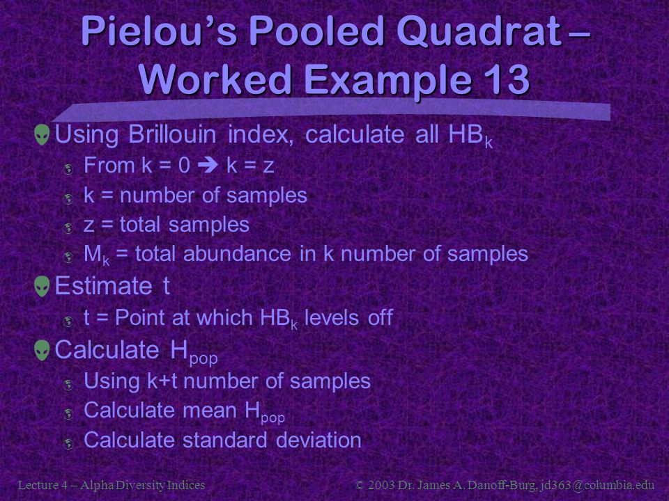 Pielou's Pooled Quadrat – Worked Example 13