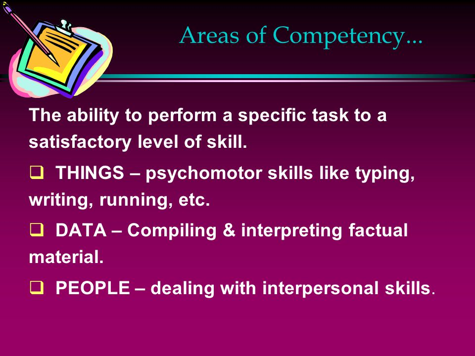 Areas of Competency... The ability to perform a specific task to a satisfactory level of skill.