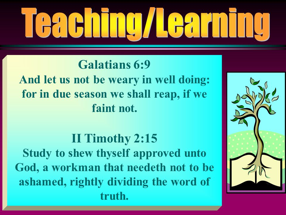 Teaching/Learning Galatians 6:9 II Timothy 2:15