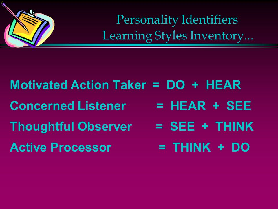 Personality Identifiers Learning Styles Inventory...