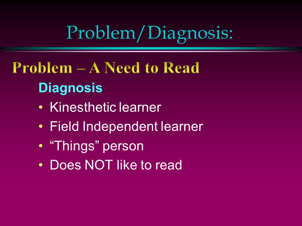 Problem/Diagnosis: Problem – A Need to Read Diagnosis