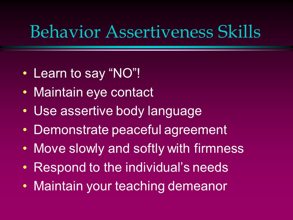 Behavior Assertiveness Skills