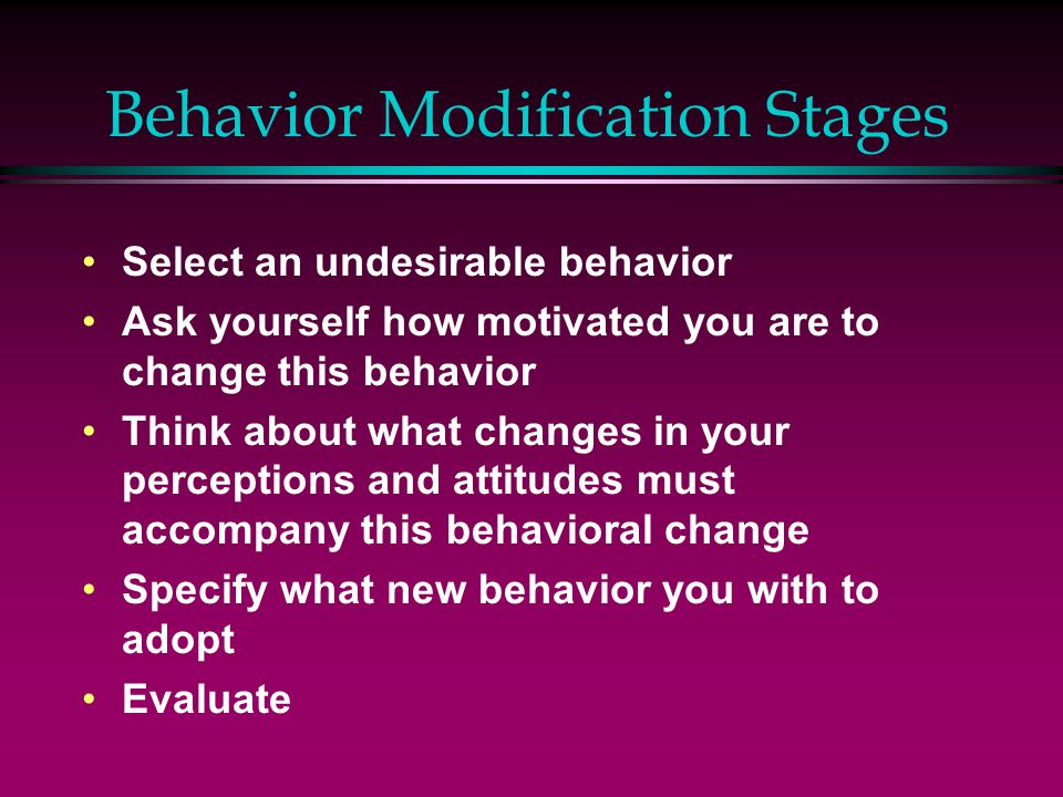 Behavior Modification Stages