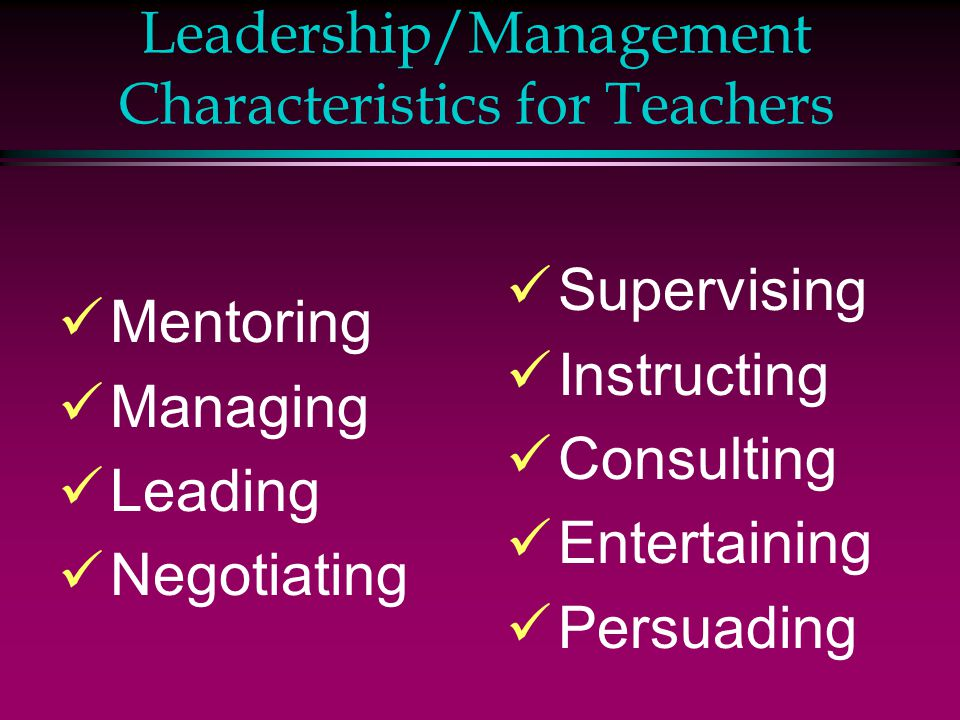 Leadership/Management Characteristics for Teachers