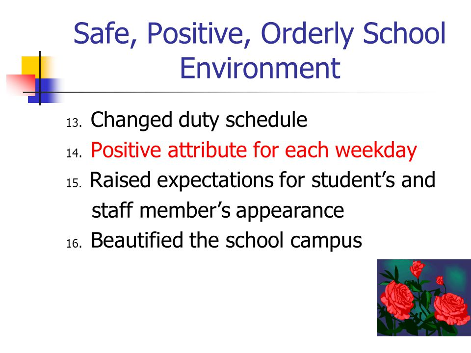 Safe, Positive, Orderly School Environment