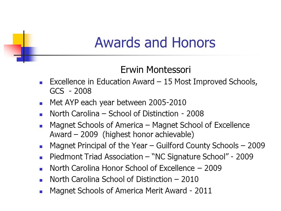 Awards and Honors Erwin Montessori