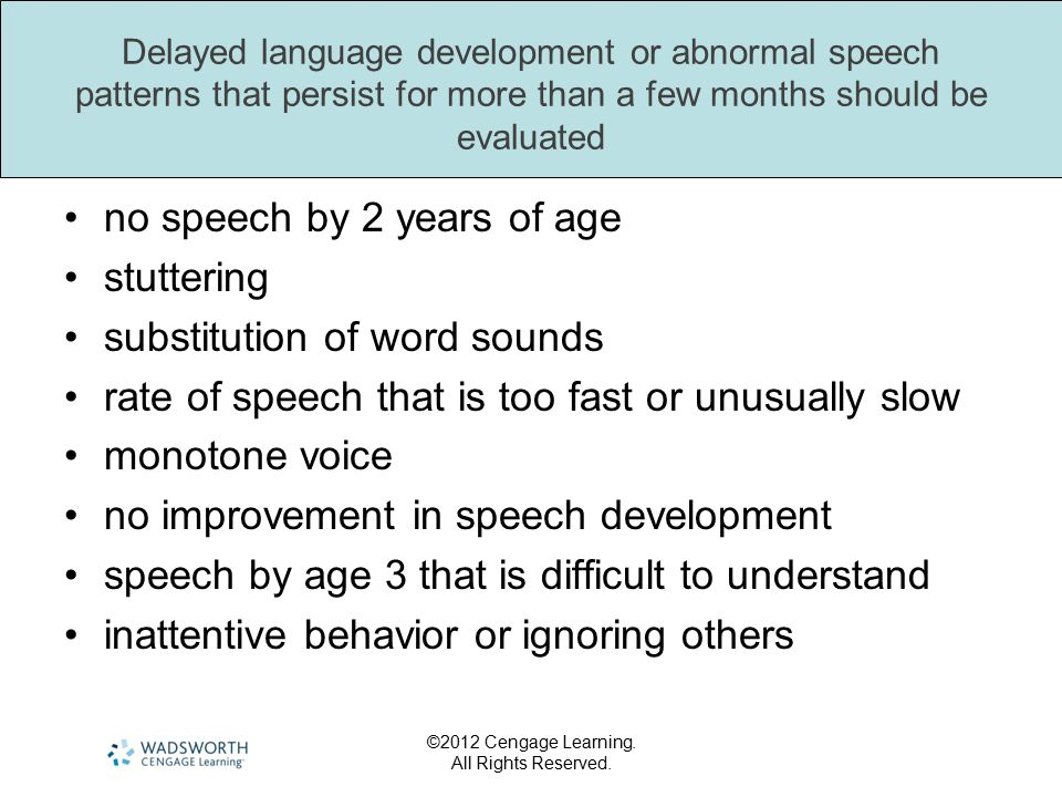 no speech by 2 years of age stuttering substitution of word sounds